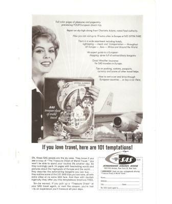 SAS Scandinavian Airlines System Vintage Ad 1961