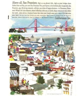 San Francisco CA Golden Gate Bridge Vintage Ad 1961 Doug Kingman