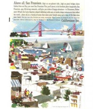 San Francisco CA Golden Gate Bridge Vintage Ad 1961 Doug Kingman