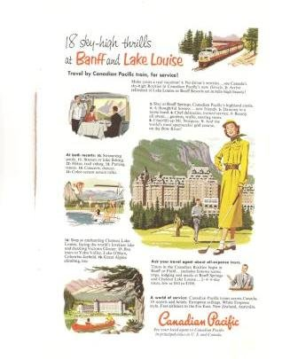 Canadian Pacific Train Banff Lake Louise Vintage Ad 1952