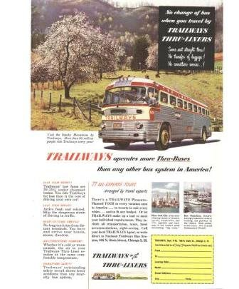 Trailways Thru Liners Buses Smoky Mountains Vintage Ad 1952