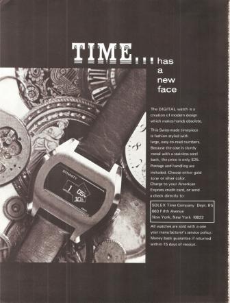 Solex Time Company Digital Watch Vintage Ad 1970