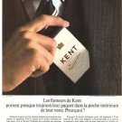 Kent Cigarettes French Vintage Ad 1966