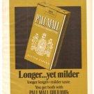 Pall Mall Gold 100's Longer Milder Cigarettes  1971 Vintage Ad