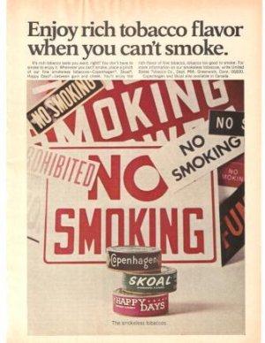 Copenhagen Skoal Happy Days Tobacco Smokeless Vintage Ad 1971