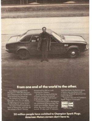 Champion Spark Plugs Hou Halasz Hornet Vintage Ad 1971