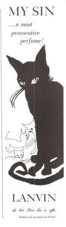 Lanvin My Sin Perfume Black Cat Vintage Ad 1967