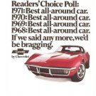 Corvette Chevrolet Car and Driver Readers Choice GM Red Vintage Ad June 1971