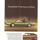 Thunderbird 71 Ford Green Luxury Car Vintage Ad June 1971