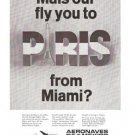 Aeronaves de Mexico Airlines Paris from Miami Vintage Ad June 1969