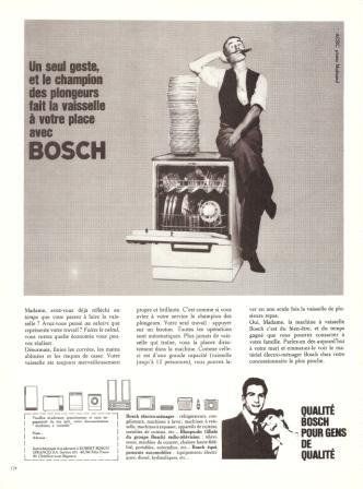 Bosch Dishwasher Appliances Vintage Ad April 1966 French