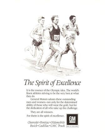 GM Spirit of Excellence General Motors Vintage Ad 1984 Olympics