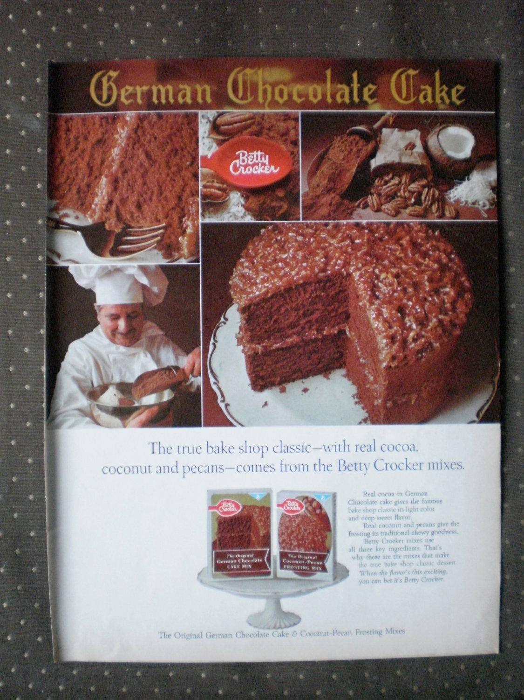 Betty Crocker German Chocolate Cake Vintage Ad 1968