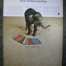 Sears Acrilan Carpeting Muddy Elephant Vintage Ad 1968