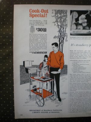Cosco Cook-Out Cart Barbecue 1968 Vintage Ad
