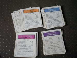 Monopoly Title Deeds Complete 28 Cards Vintage
