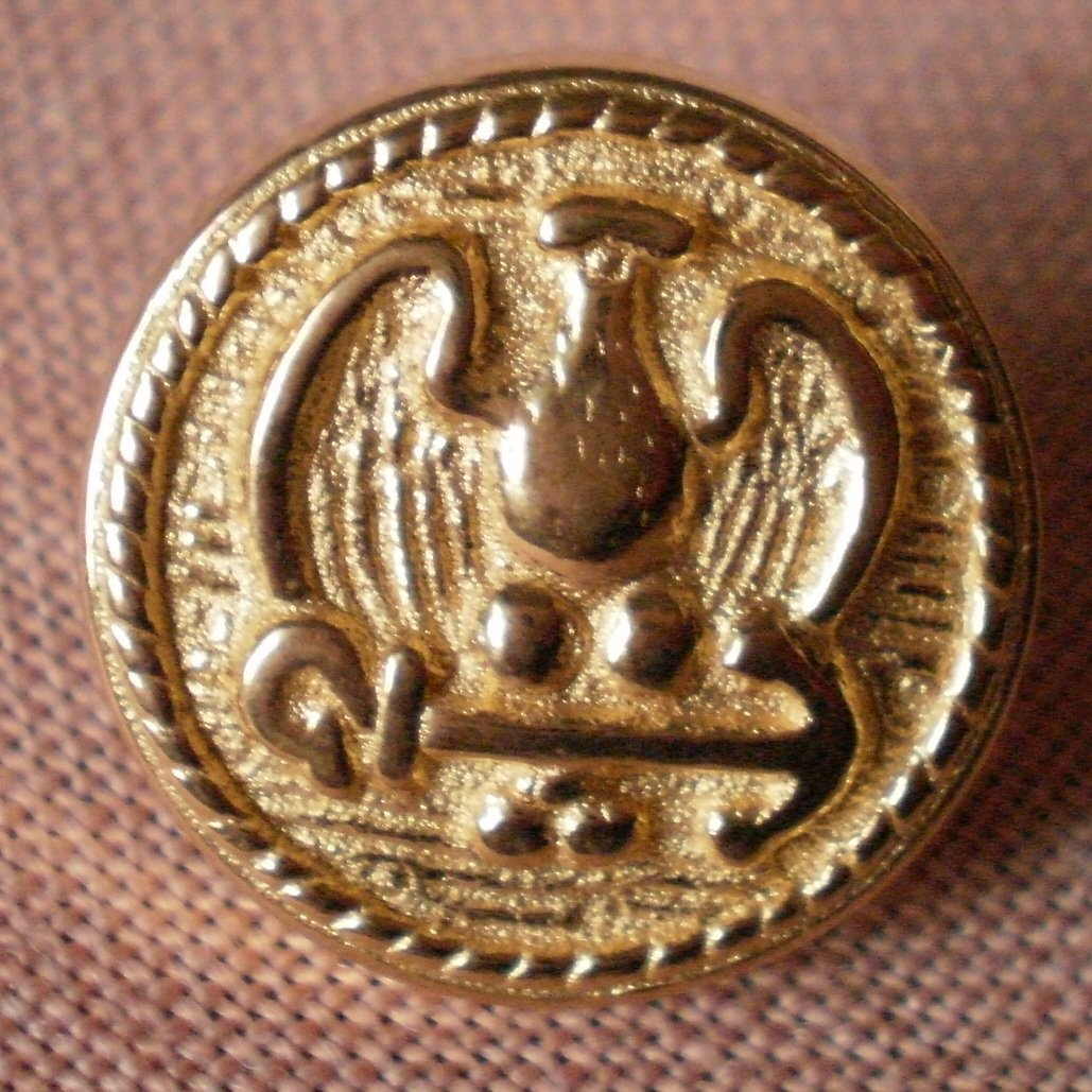 Sewing Button Round Eagle Arrow Button Gold 1.6cm Self Shank Lot 5