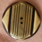 Large Green Yellow Brown Art Deco Button 2 hole Vintage