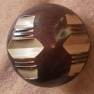 Large Plastic Button Geometric Brown Art Deco 3.3cm metal shank Carved