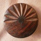 Large Wood Button Vintage Carved Metal Shank Sunburst Brown