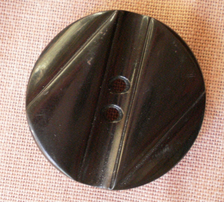 Large Plastic Button Black 2-hole Z Geometric Art Deco 28mm