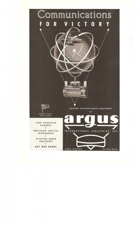 Argus Communications Aviation Radio Equipment Vintage Ad 1944