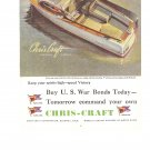 Chris Craft Express Cruiser US War Bonds Vintage Ad 1944