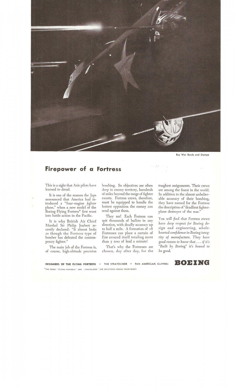 Boeing Flying Fortress Fighter Plane Buy War Bonds Vintage Ad 1944