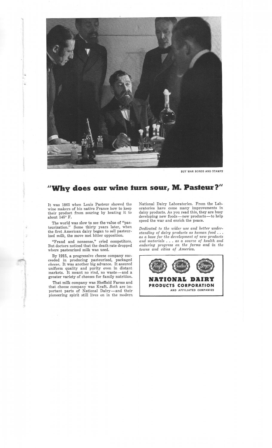 National Dairy Products Corp Pasteur Wine Turn Sour War Bonds Vintage Ad 1944
