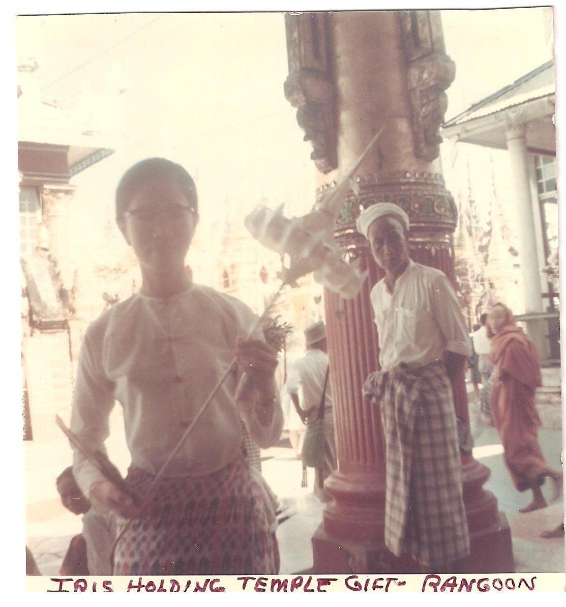 Vintage Photograph Burma Woman Holding Temple Gift Rangoon 1968 Myanmar