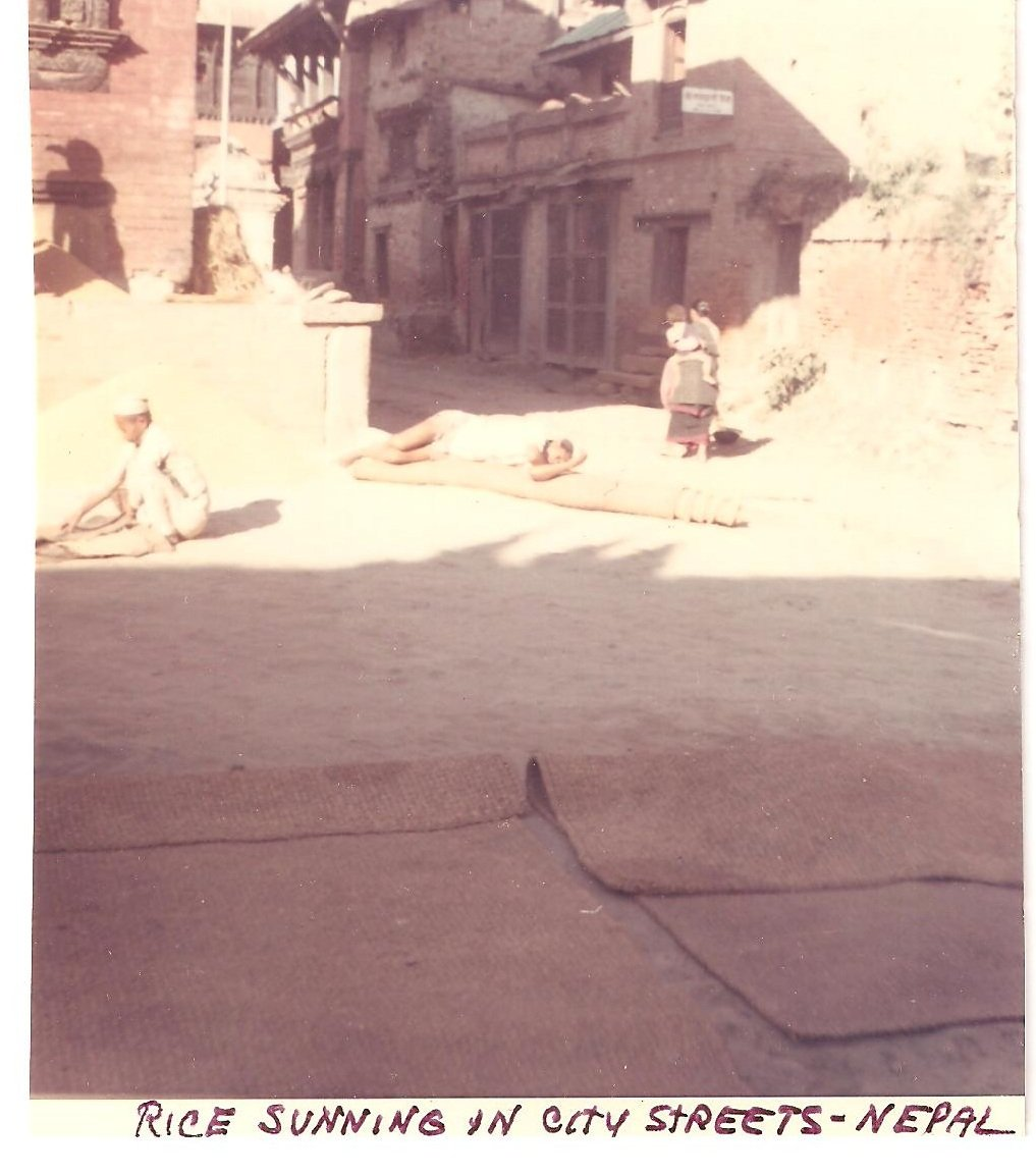 Vintage Photograph Rice Sunning City Streets Nepal 1968