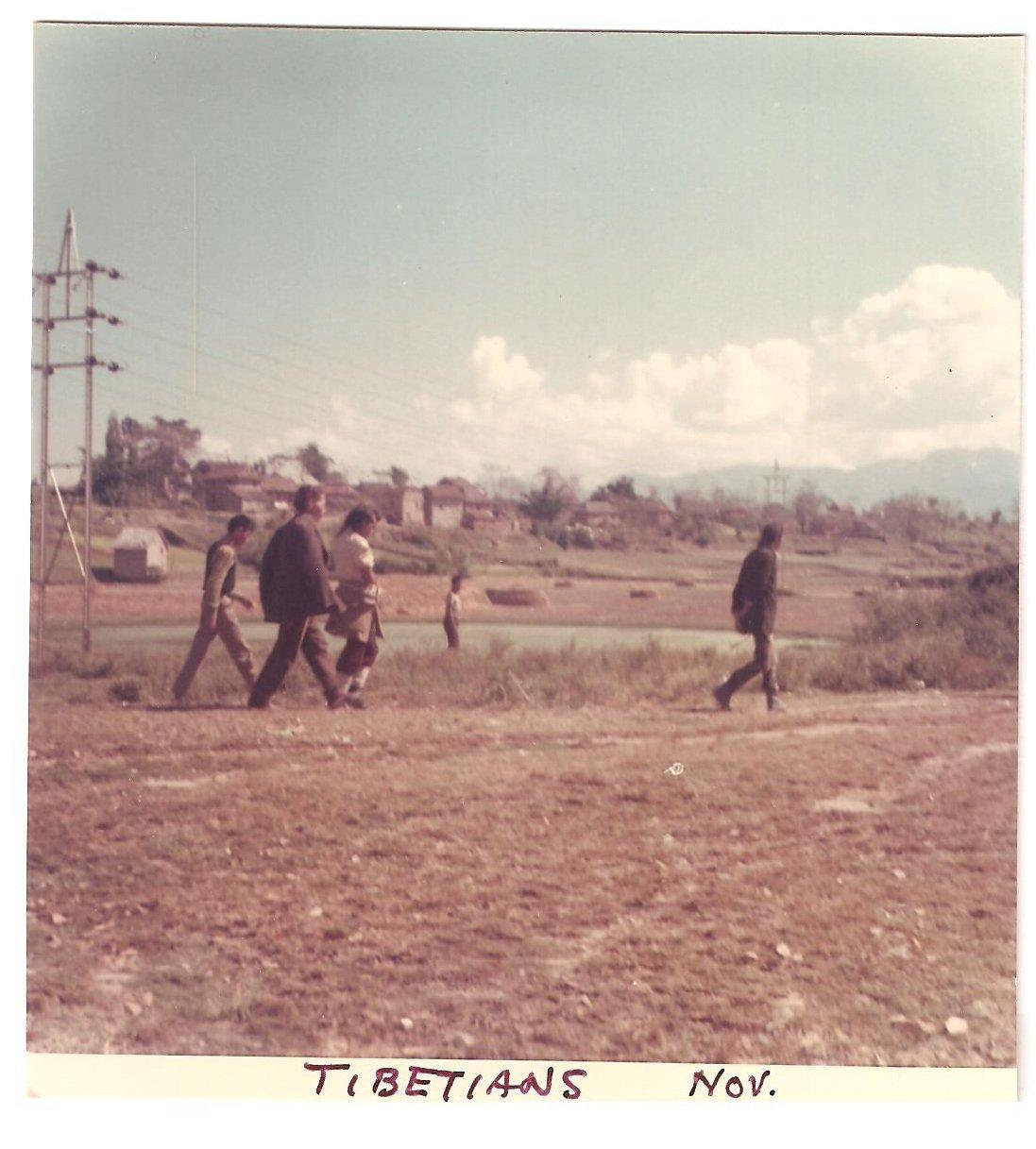 Vintage Photograph Tibetians Tibet Walking 1968