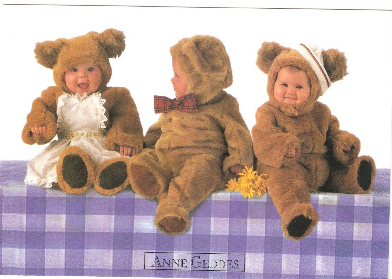 Anne Geddes Postcard 1995 605-111 Baby Teddy Bears 4x6