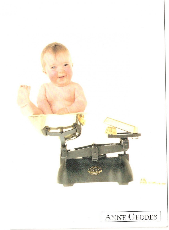 Anne Geddes Postcard 1995 605-041 Baby Scale Weight 4x6