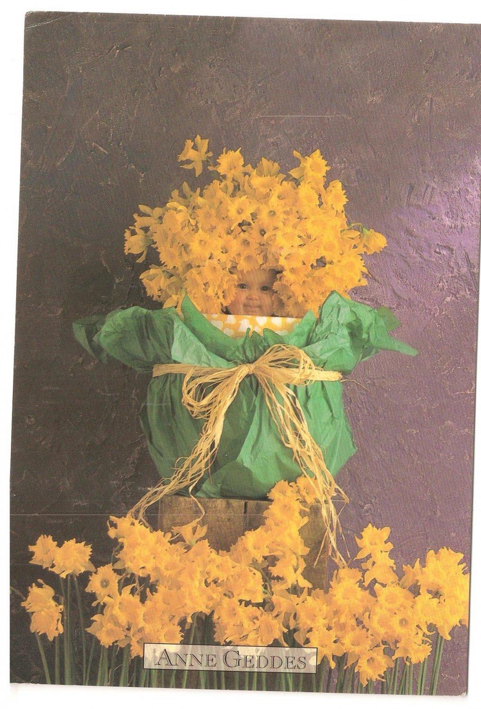 Anne Geddes Postcard 1995 605-107 Baby Yellow Flower Bouquet 4x6