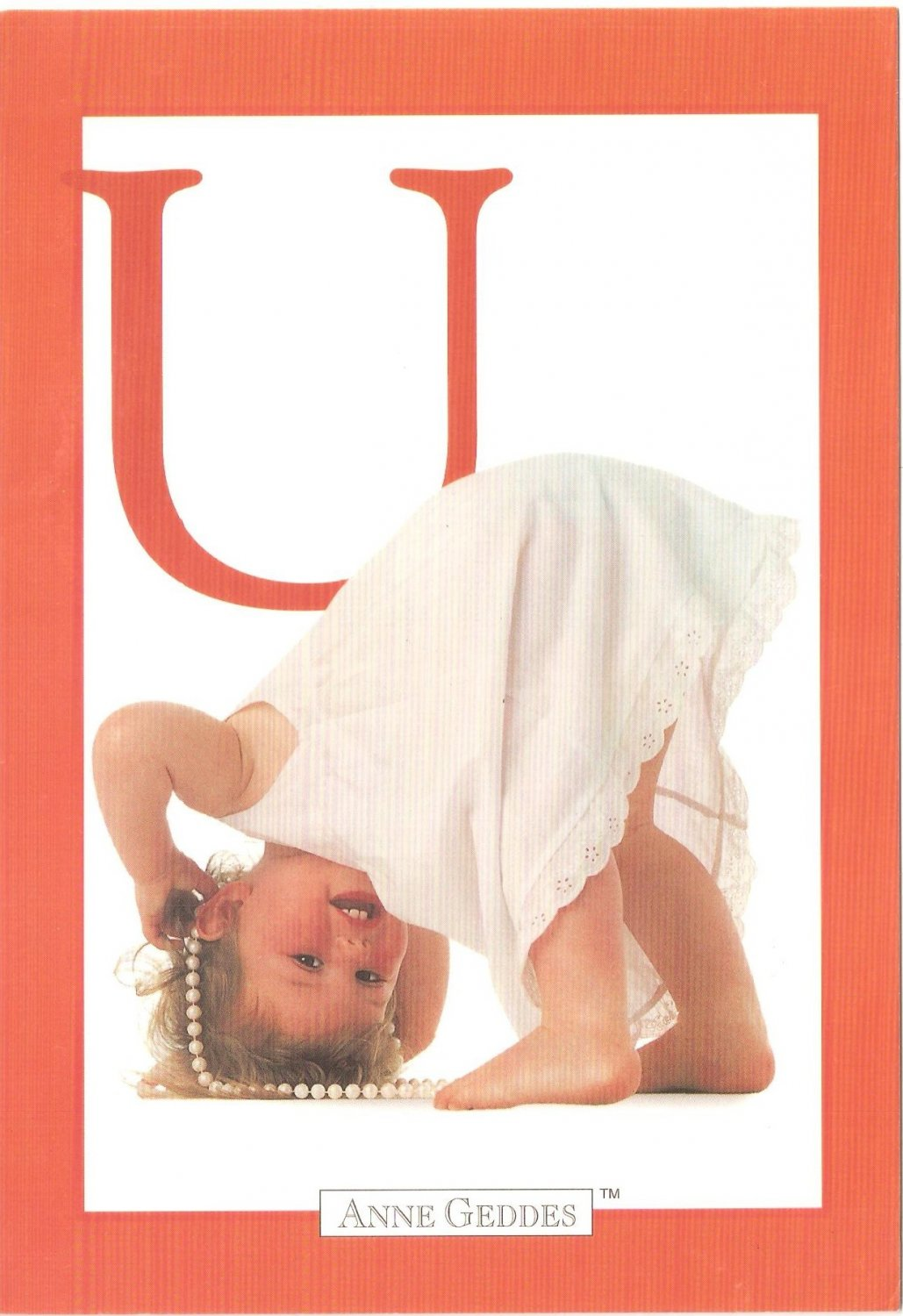 Anne Geddes Postcard 1995 605-074 U is for Upside Down Baby 4x6