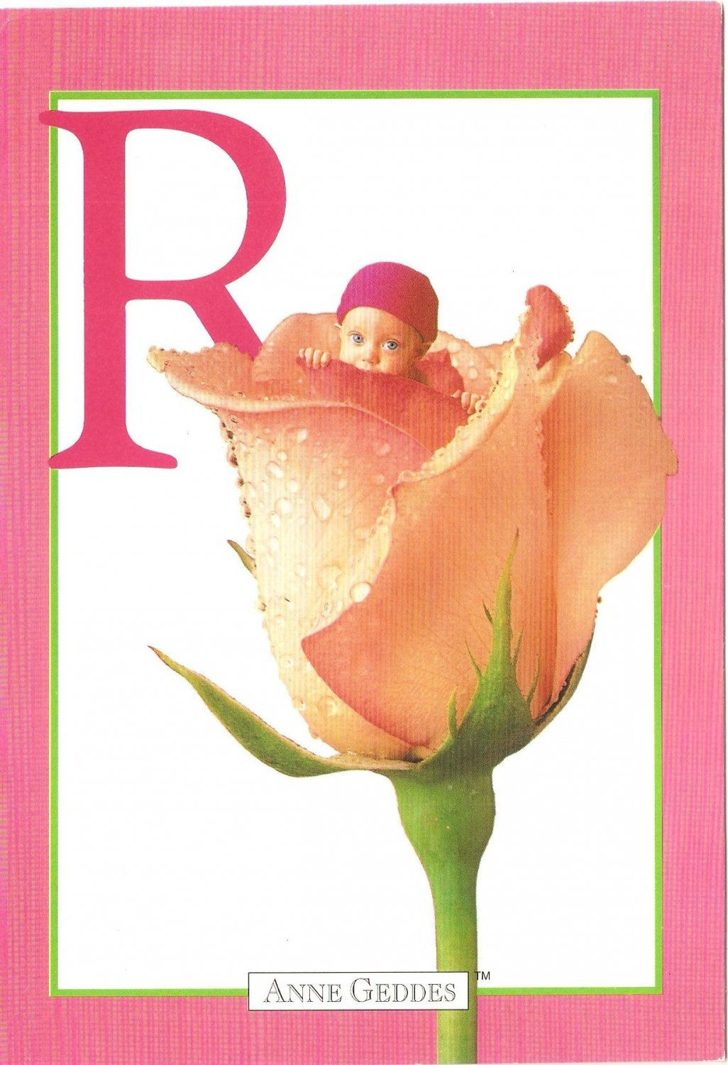 Anne Geddes Postcard 1995 605-071 R is for Rose Baby 4x6