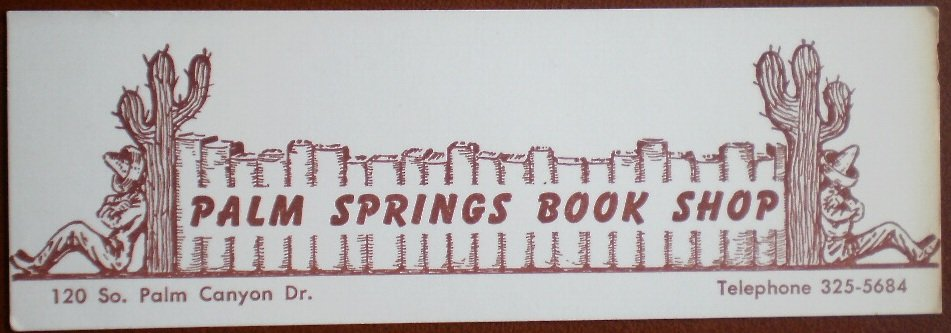 Bookmark Palm Springs Book Shop Vintage California Cactus