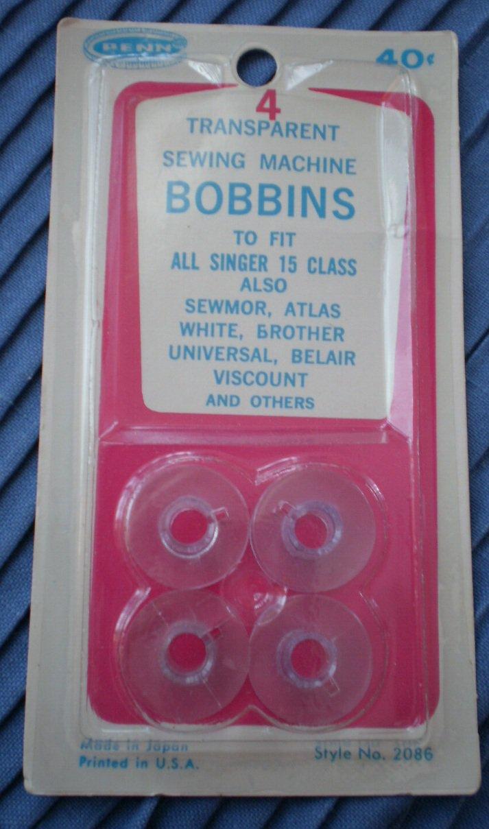 Penn Sewing Machine Bobbins 2086 Transparent Plastic Singer 15 NOS Vintage