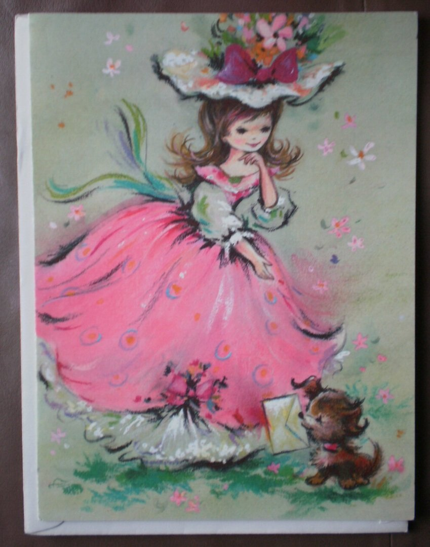 Friendship Card Coronation Collection Vintage Greeting 75605 Stationery Girl Dog Puppy