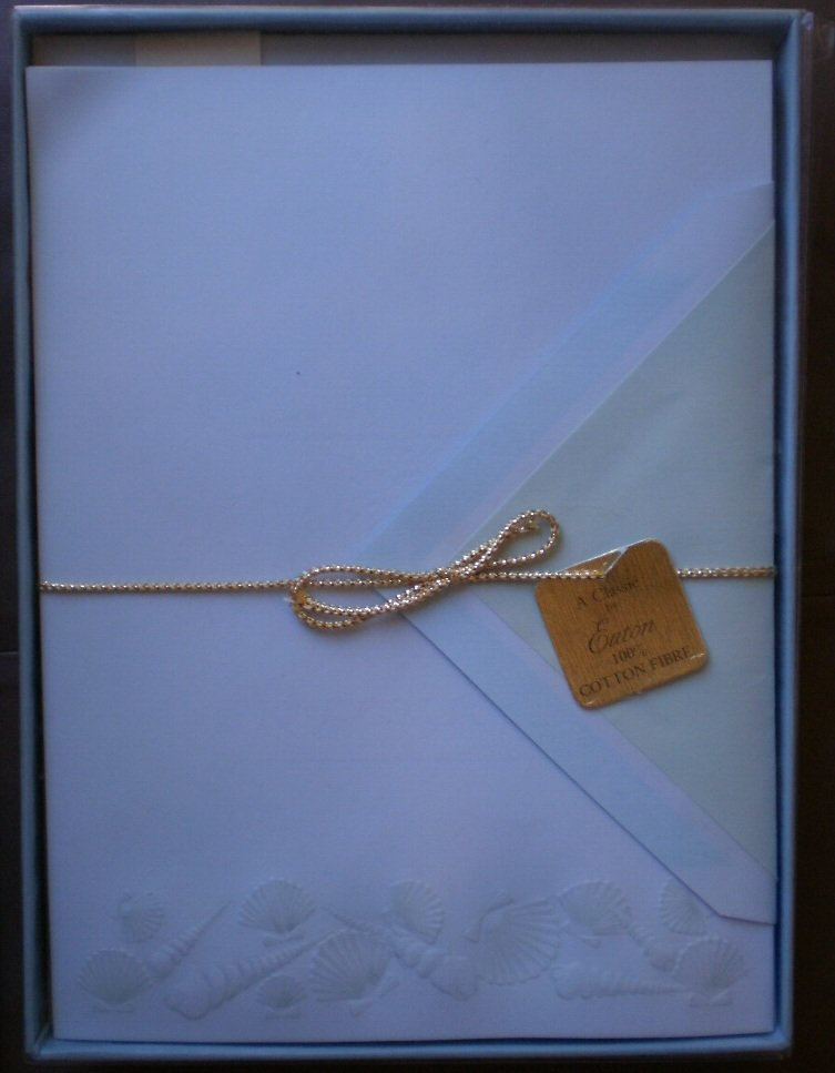 Vintage Stationery Eaton 1893 Embossed Shells Cotton Fibre Blue Box Sheets Envelopes