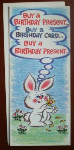 Birthday Card Vintage Amberley Greeting 1984 Bunny Rabbit Buy a Present