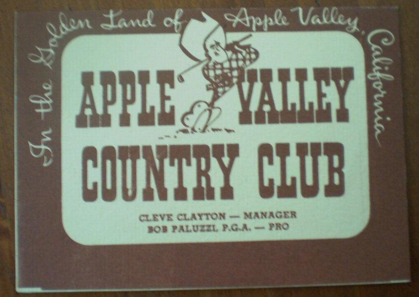 Vintage Golf Scorecard Apple Valley Country Club Bob Paluzzi 1958 Score Card