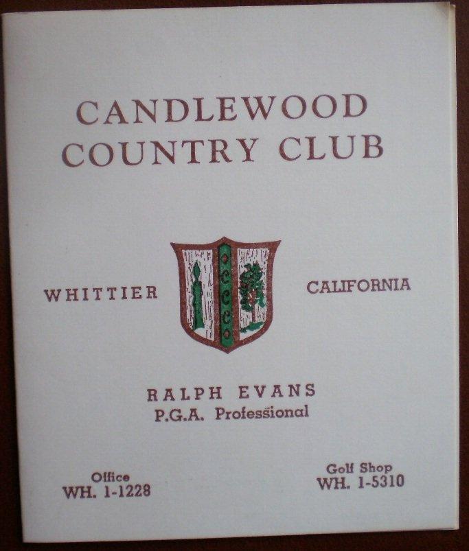 Vintage Golf Scorecard Candlewood Country Club Whittier CA score card