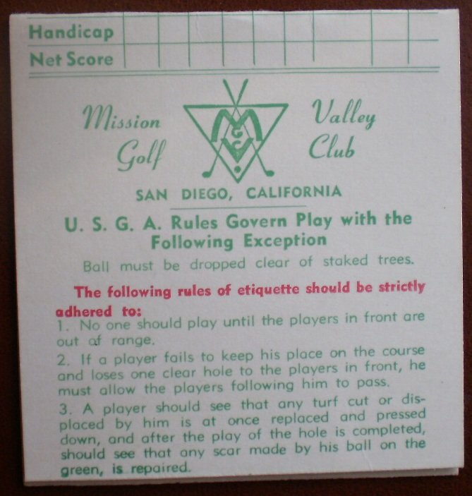 Vintage Golf Scorecard Mission Valley Golf Club San Diego CA score card