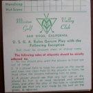 Vintage Golf Scorecard Mission Valley Golf Club San Diego CA score card