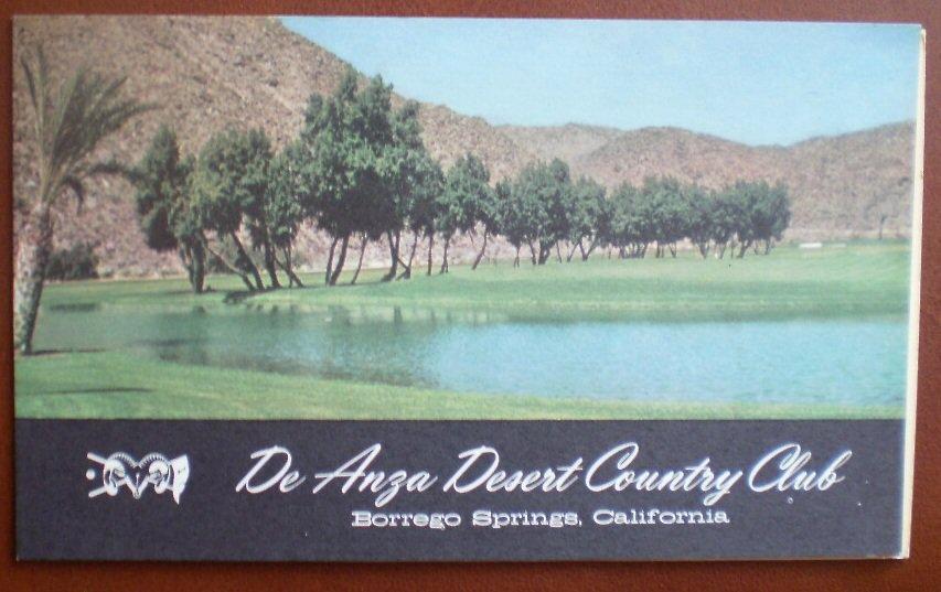 Vintage Golf Scorecard De Anza Desert Country Club Borrego Springs CA score card