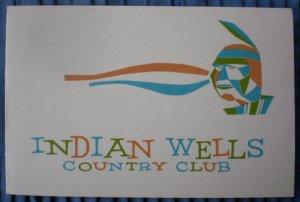 Vintage Golf Scorecard Indian Wells Country Club White score card