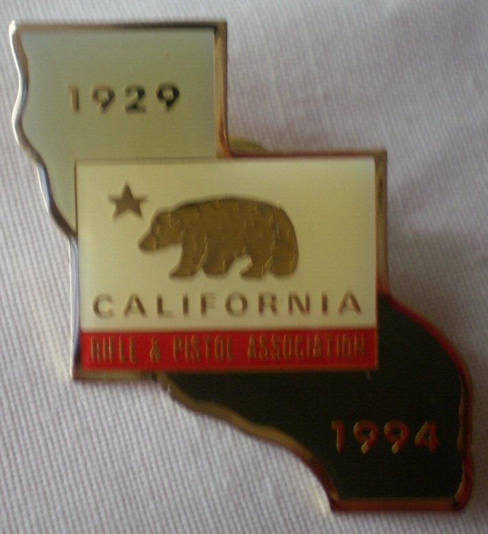 California Rifle Pistol Association 1994 Lapel Pin Enamel Metal State Map