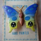 Scatter Pin Lapel Butterfly Blue Hand Painted Vintage Painted Goldtone Metal